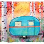 """Among the Birch"" Vintage Trailer Watercolor Painting"