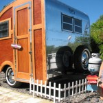 1957 Woodie Love Bug 12′ Restored Vintage Trailer